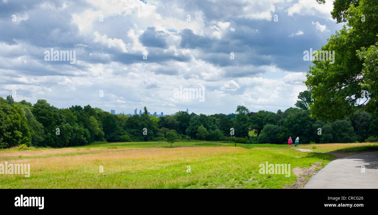 Walkers on Hampstead Heath with views of London skyline - Stock Image