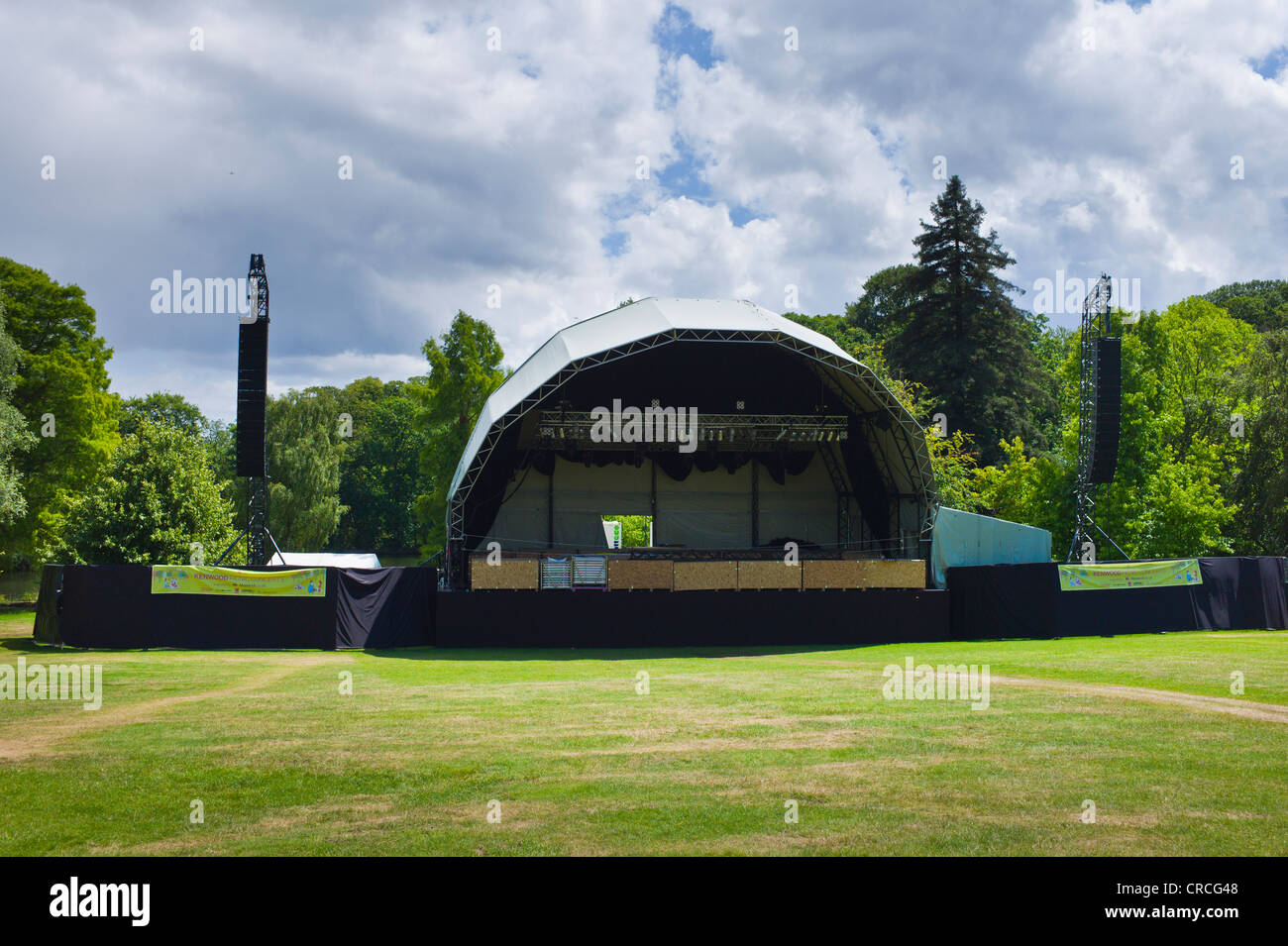 The concert stage and large speaker stacks on an outside gantry at Kenwood House Stock Photo