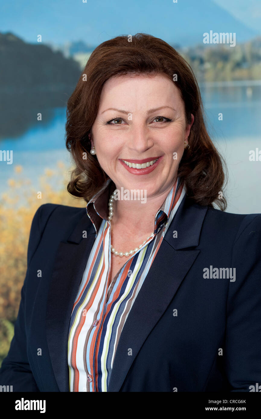 Actress, Henriette Thaler, alias Annabel Faber, at the press conference for the ZDF TV series, Herzflimmern - Die - Stock Image