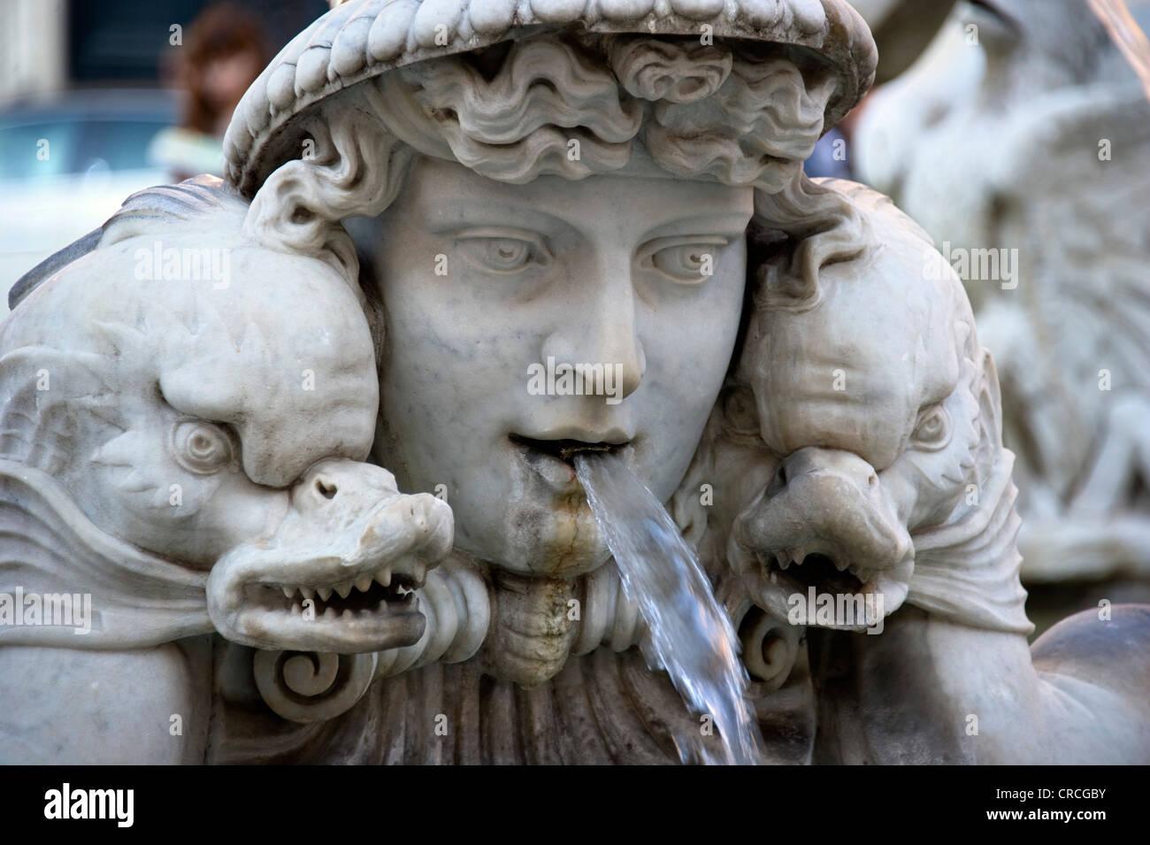 Fountain figure, sea figure with fish, Fontana del Moro or Moor Fountain, Piazza Navona, Rome, Lazio, Italy, Europe - Stock Image