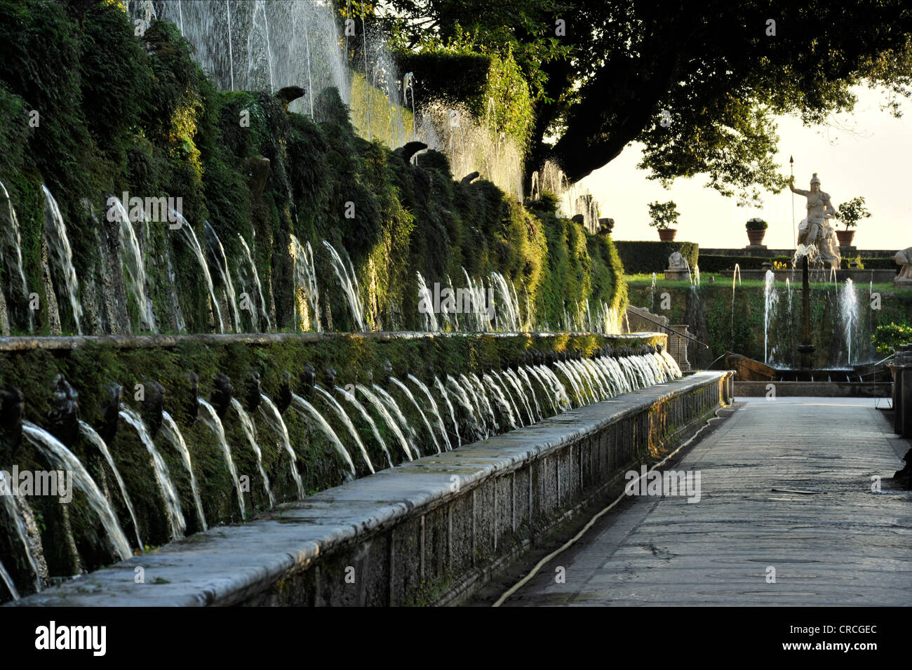 Viale delle Cento Fontane or Alley of the Hundred Fountains, Fontana della Rometta, Garden of the Villa d'Este - Stock Image