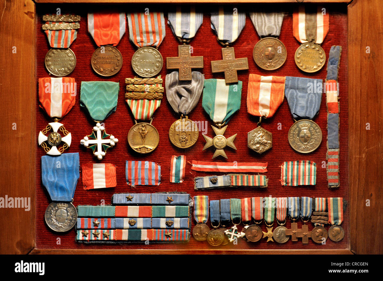 Pietro Rivas's medals and awards exhibited in the Museum of the National Memorial to King Vittorio Emanuele - Stock Image