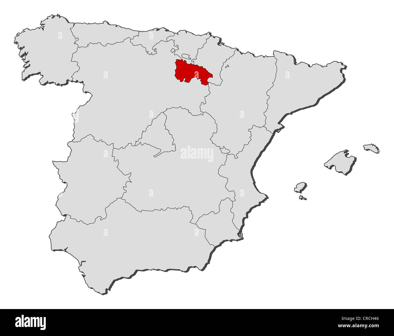 Map Of Spain Rioja.Political Map Of Spain With The Several Regions Where La Rioja Is