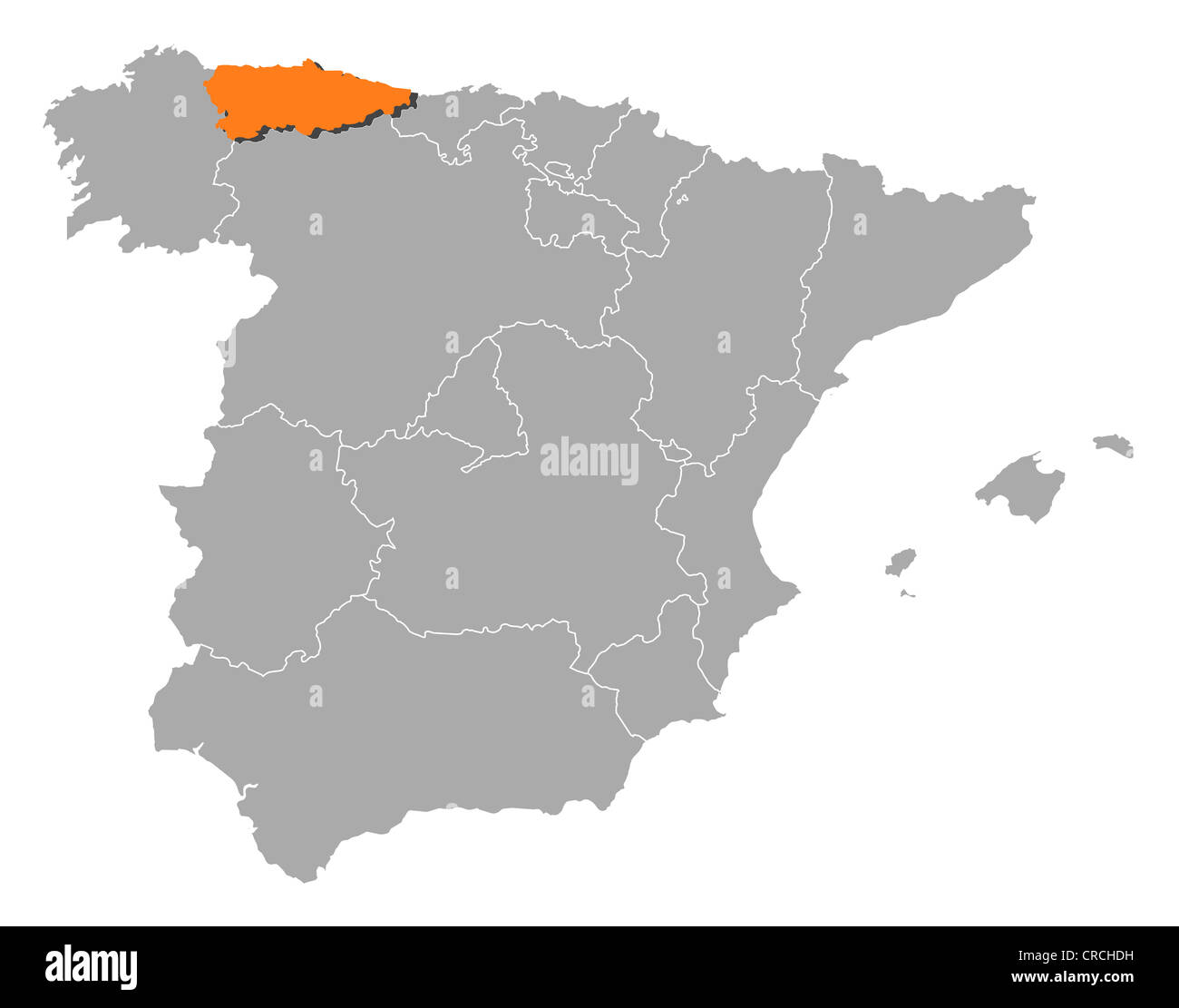 Map Of Spain With Regions.Political Map Of Spain With The Several Regions Where Asturias Is