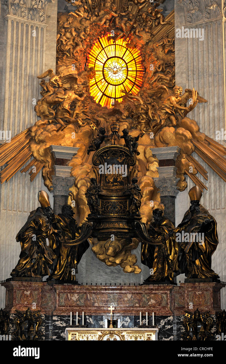 Cathedra Petri, Chair of Saint Peter and Gloria by Bernini in the apse of St. Peter's Basilica, Vatican City, - Stock Image