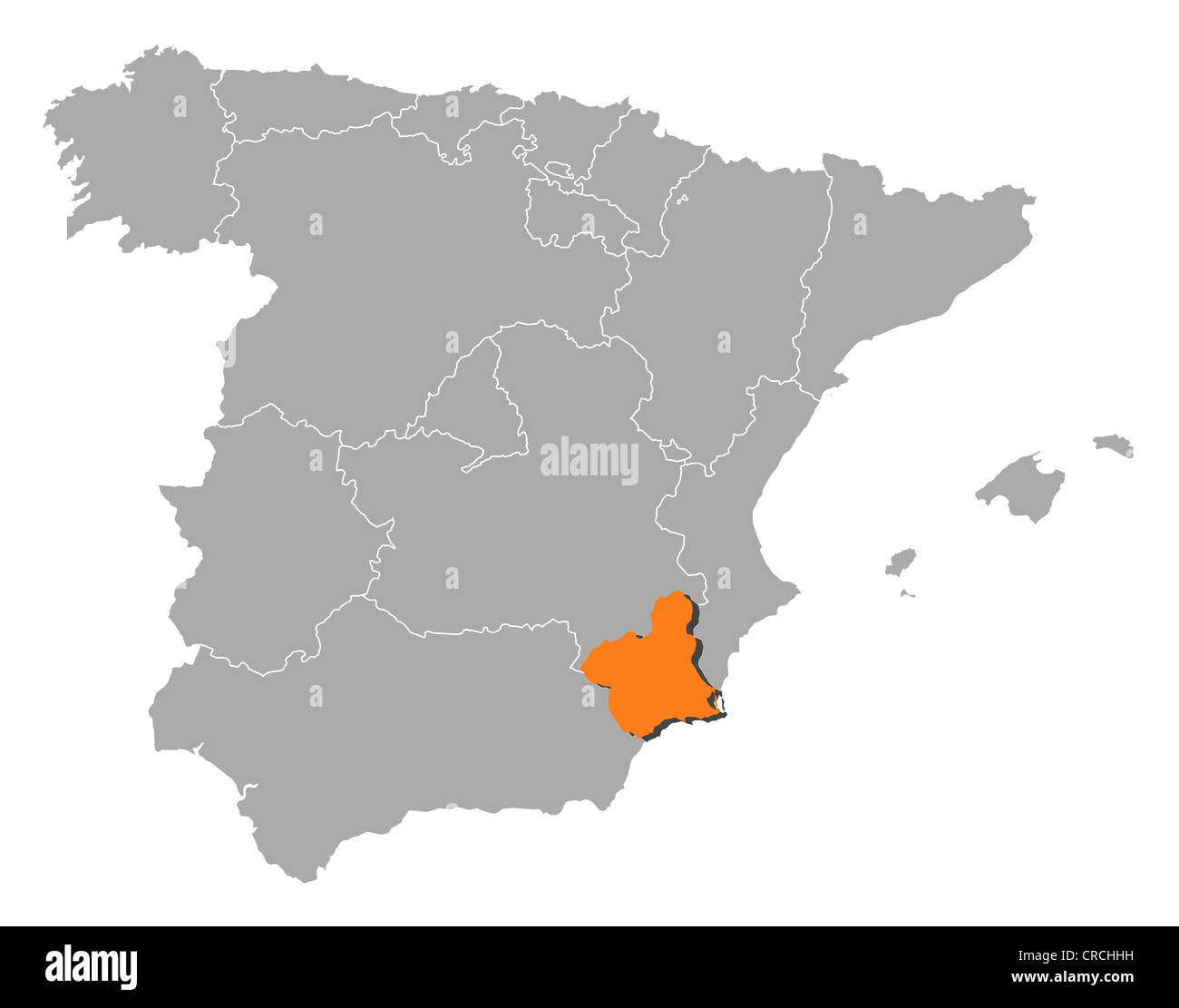 Murcia Map Of Spain.Political Map Of Spain With The Several Regions Where Murcia Is