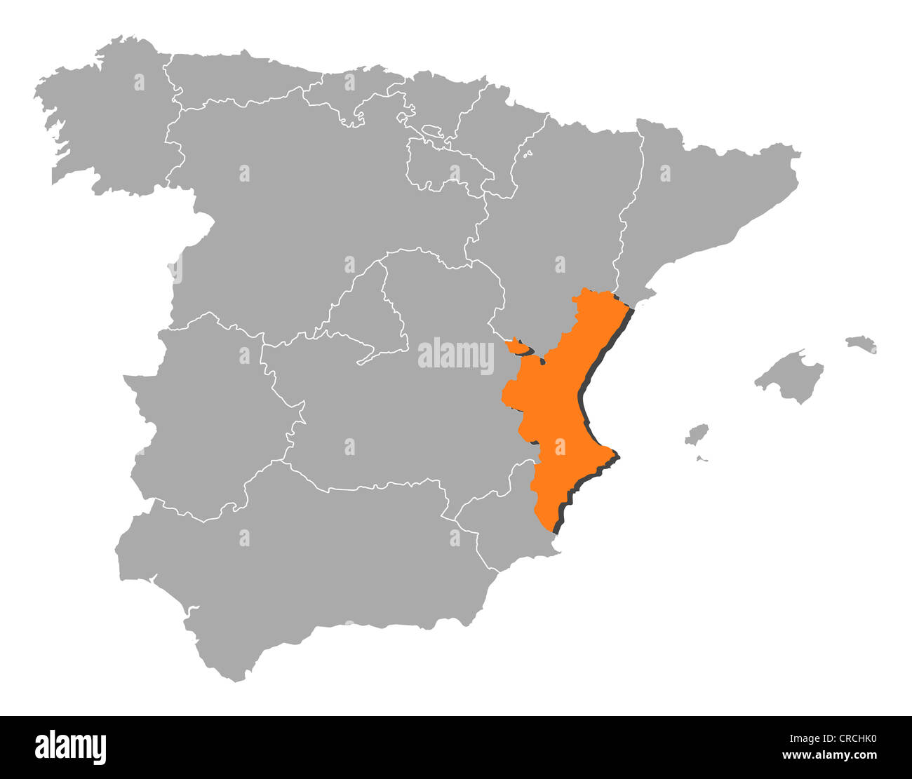 Political map of Spain with the several regions where the Valencian ...
