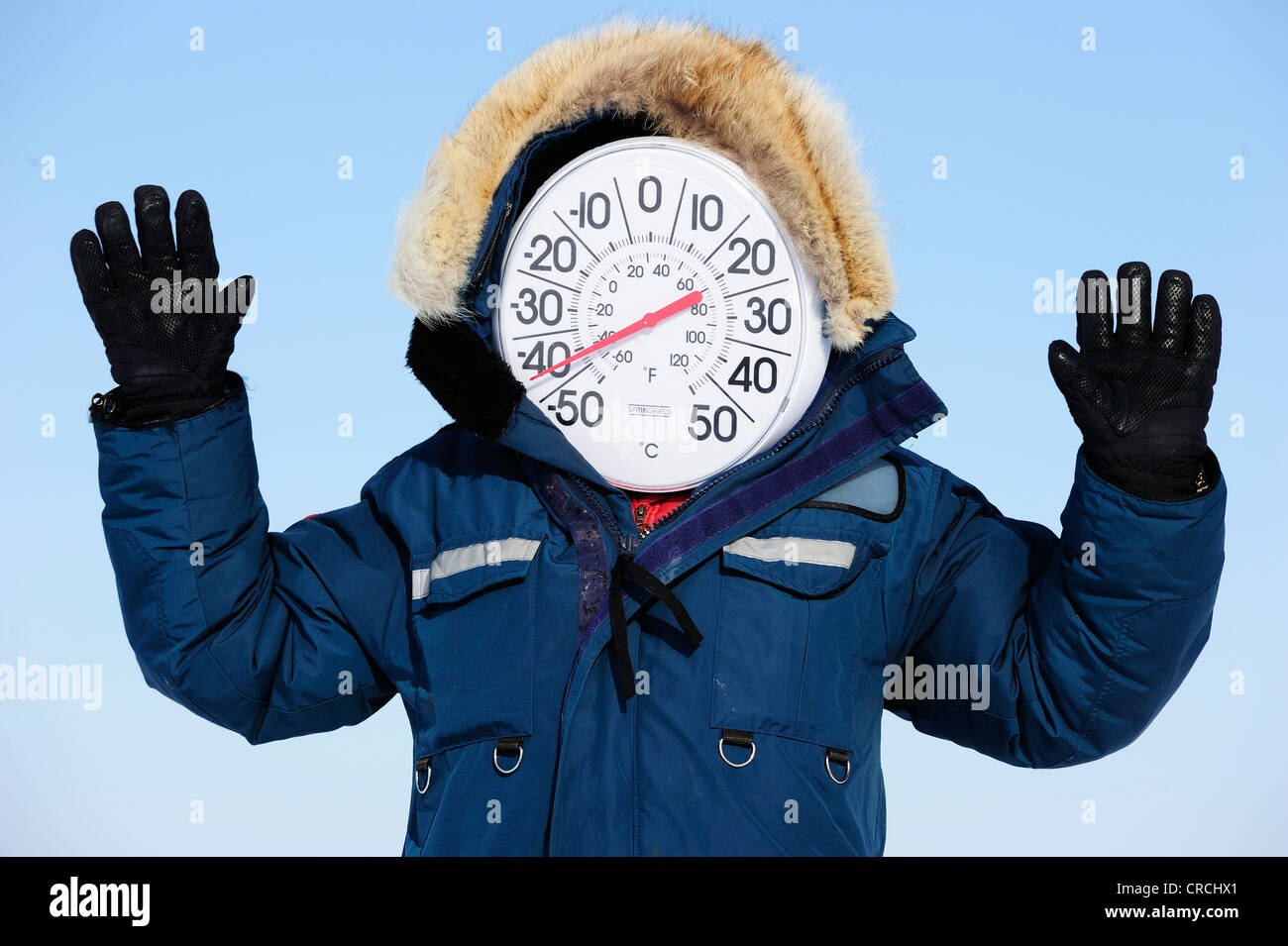 Thermometer Face Indicating Below Minus 40 Degrees Celsius In Winter In The Arctic Hudson Bay