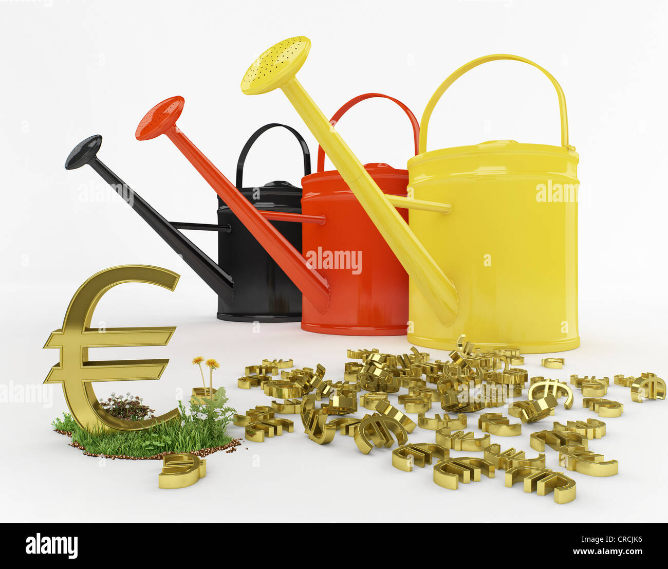 Watering Cans In The German National Colours Beside A Euro Symbol