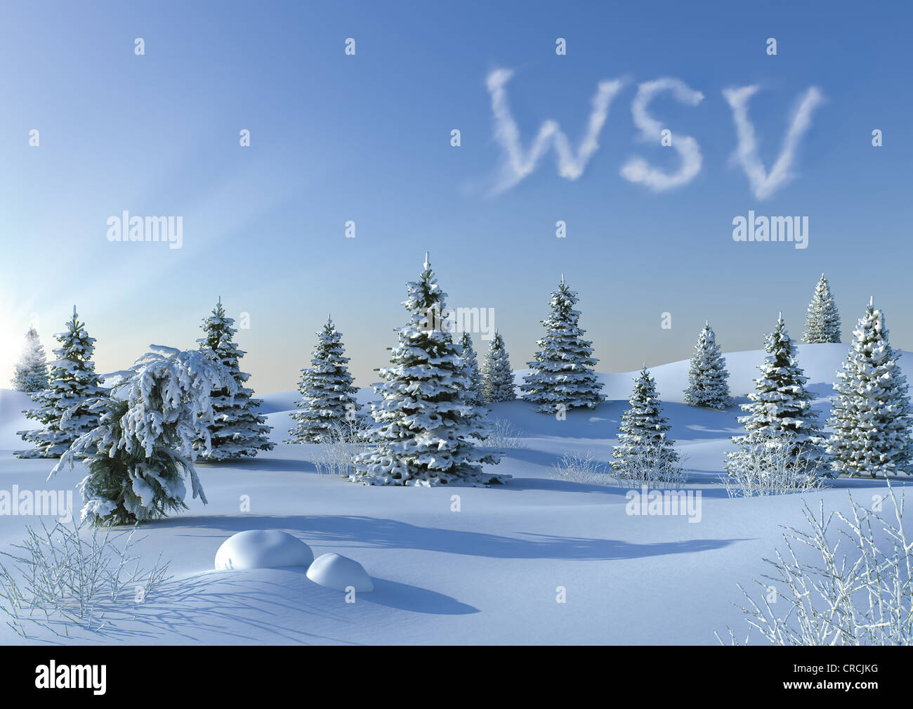 Winter landscape with WSV written in the sky, symbolic image for the German end of winter sales, illustration - Stock Image