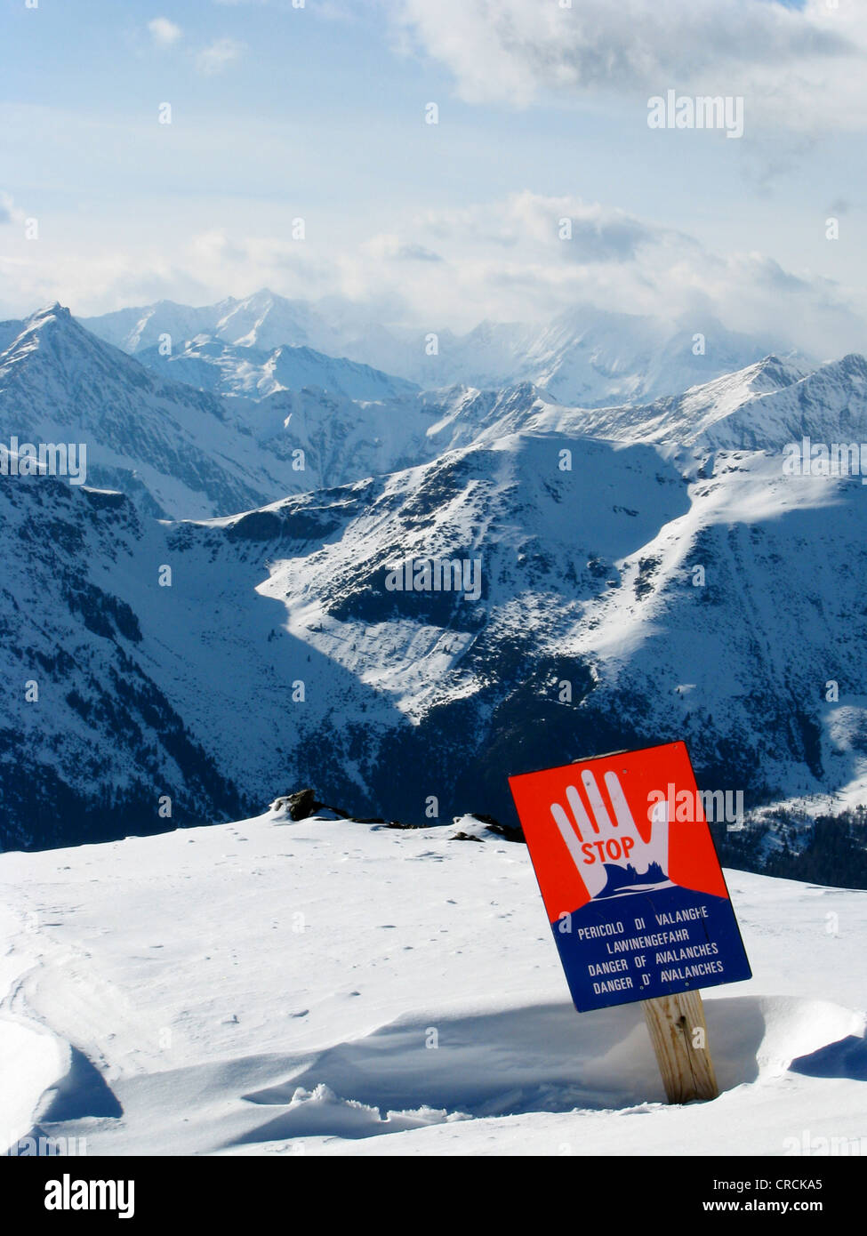 Sign in snowy mountain scenery of a skiing area warning against danger of avalanches, Italy, Suedtirol, Sarntal, - Stock Image