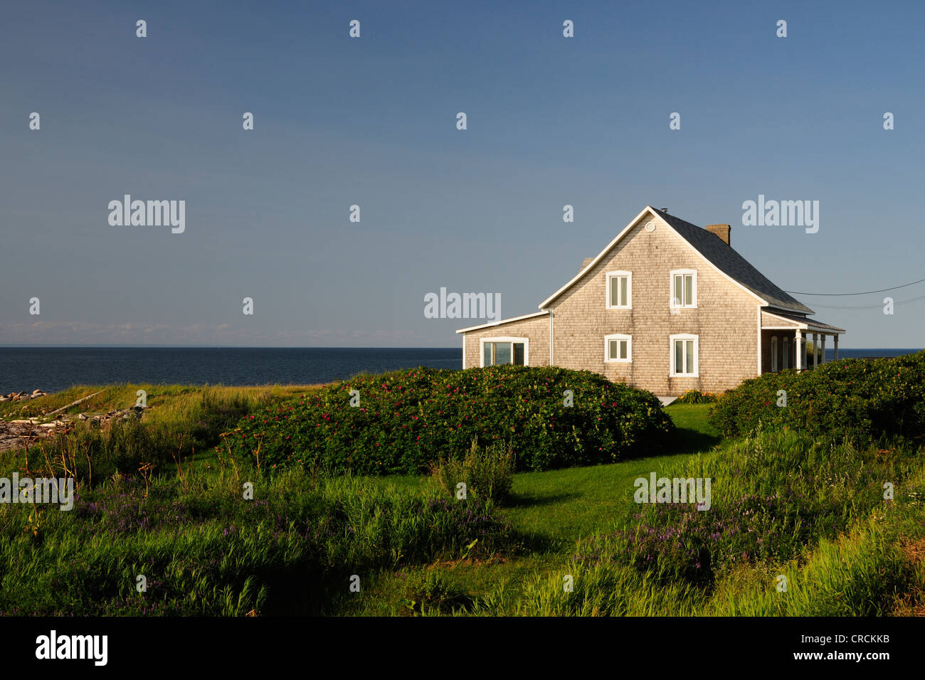 House at the St. Lawrence River, Gaspe Peninsula, Gaspésie, Quebec, Canada - Stock Image