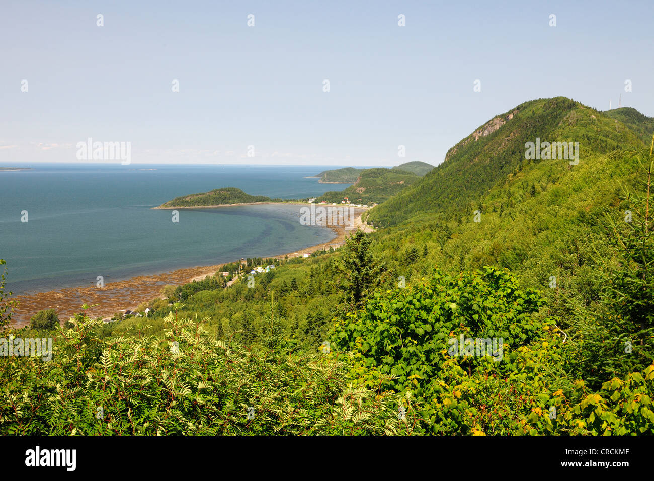 Coastline along the St. Lawrence River, Gaspe Peninsula, Gaspésie, Quebec, Canada - Stock Image