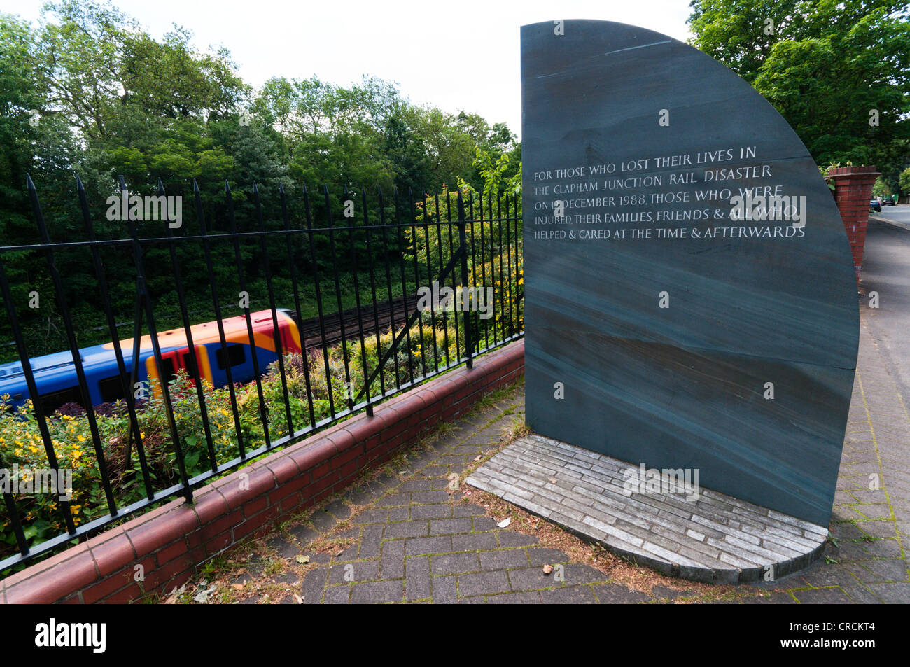 The memorial to those involved in the Clapham Junction Rail Disaster. - Stock Image