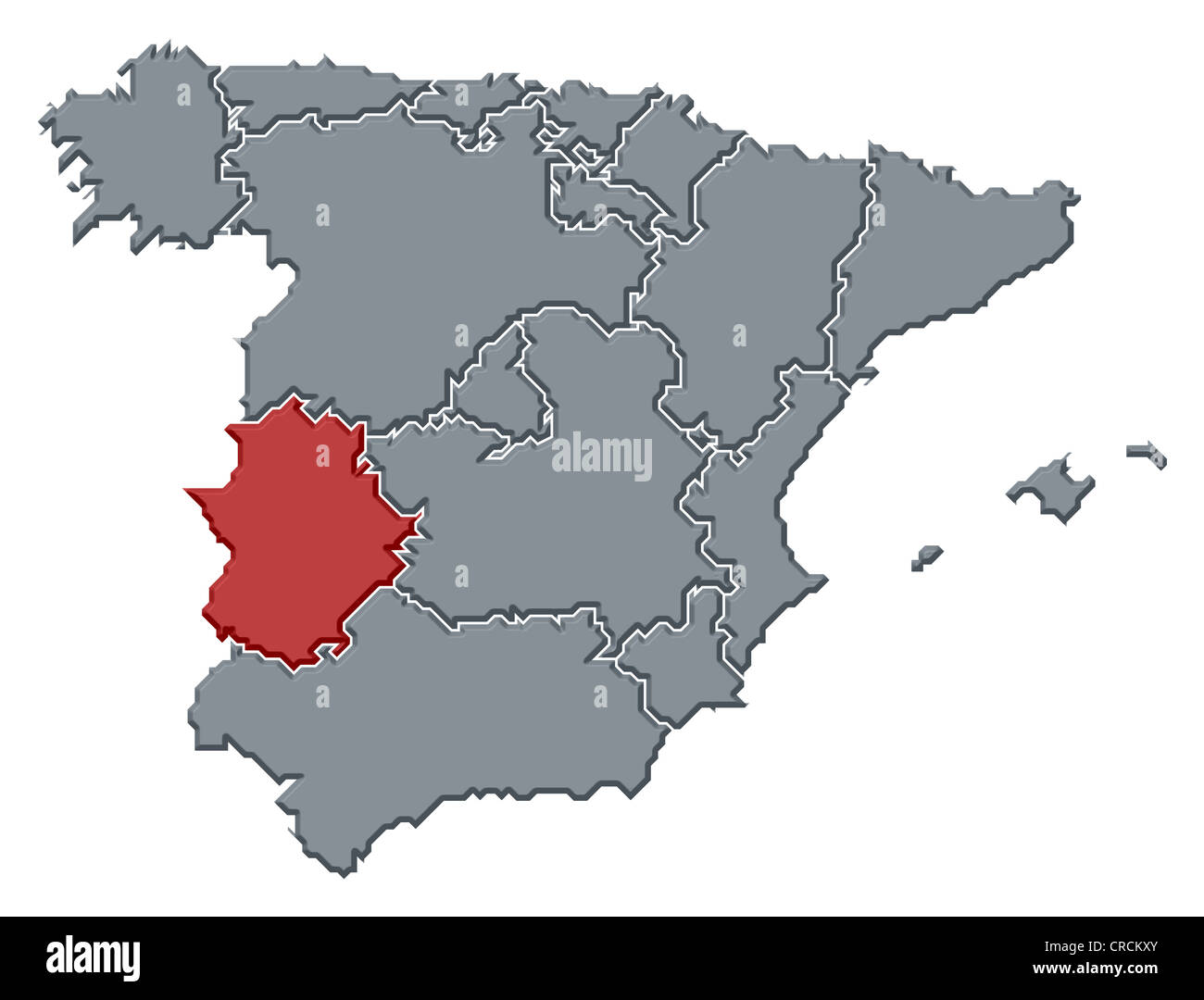 Where Is Spain On The Map Of The World.Political Map Of Spain With The Several Regions Where Extremadura Is