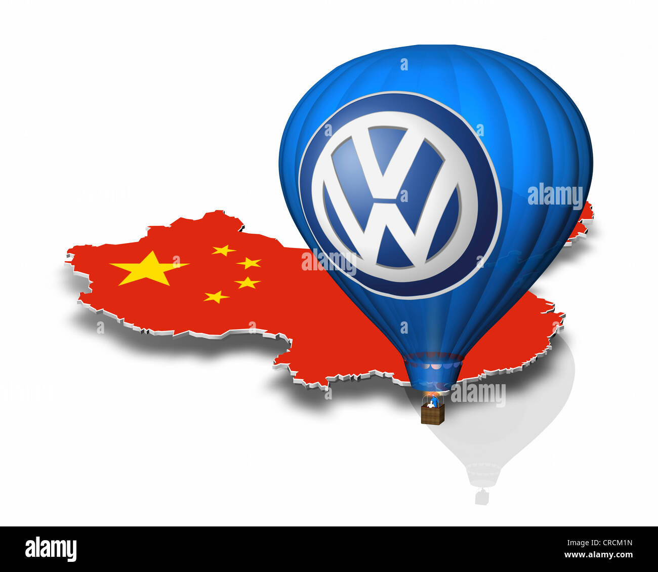 Outline of China, hot-air balloon, Volkswagen logo - Stock Image