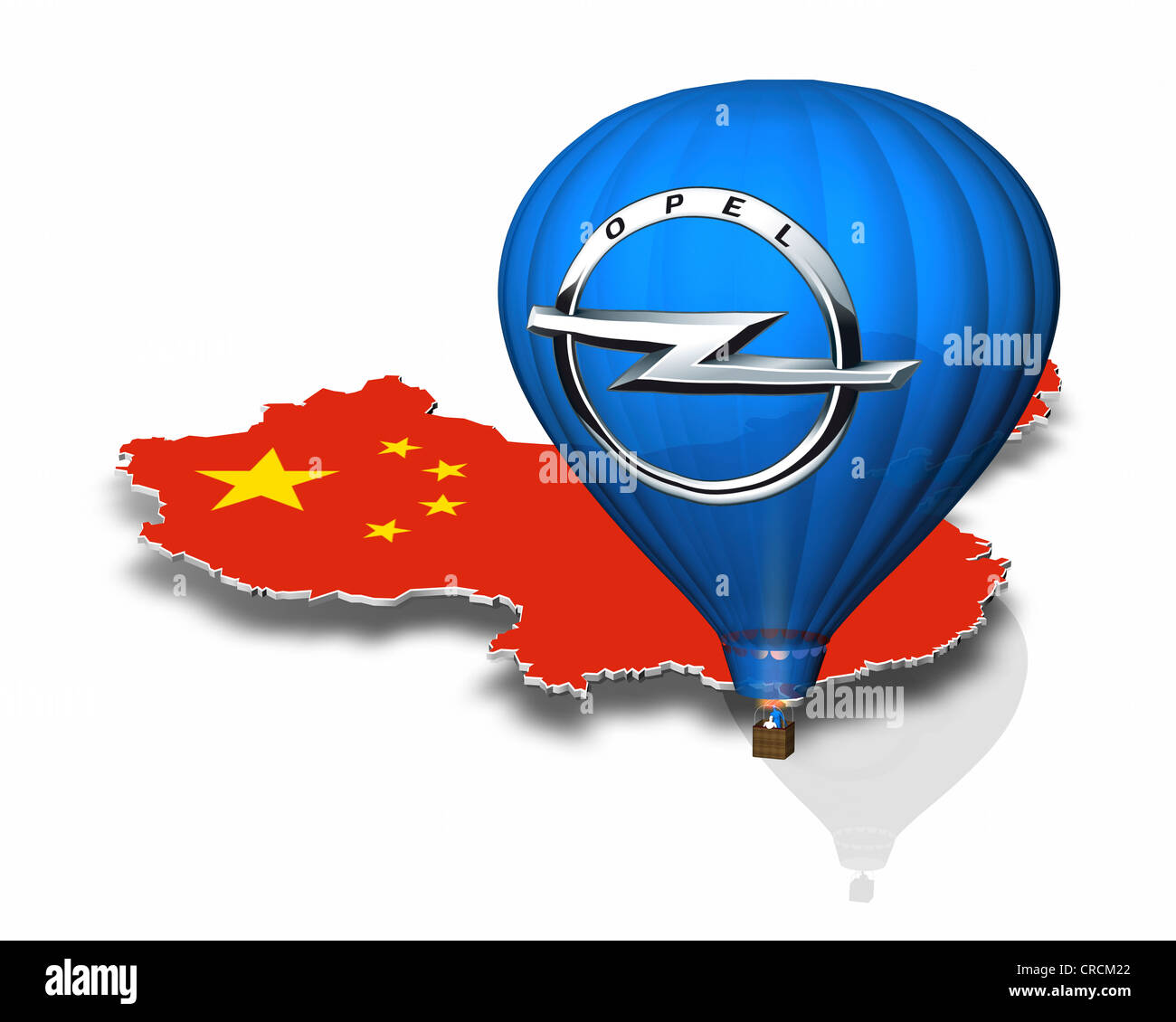 Outline of China, hot-air balloon, Opel logo - Stock Image
