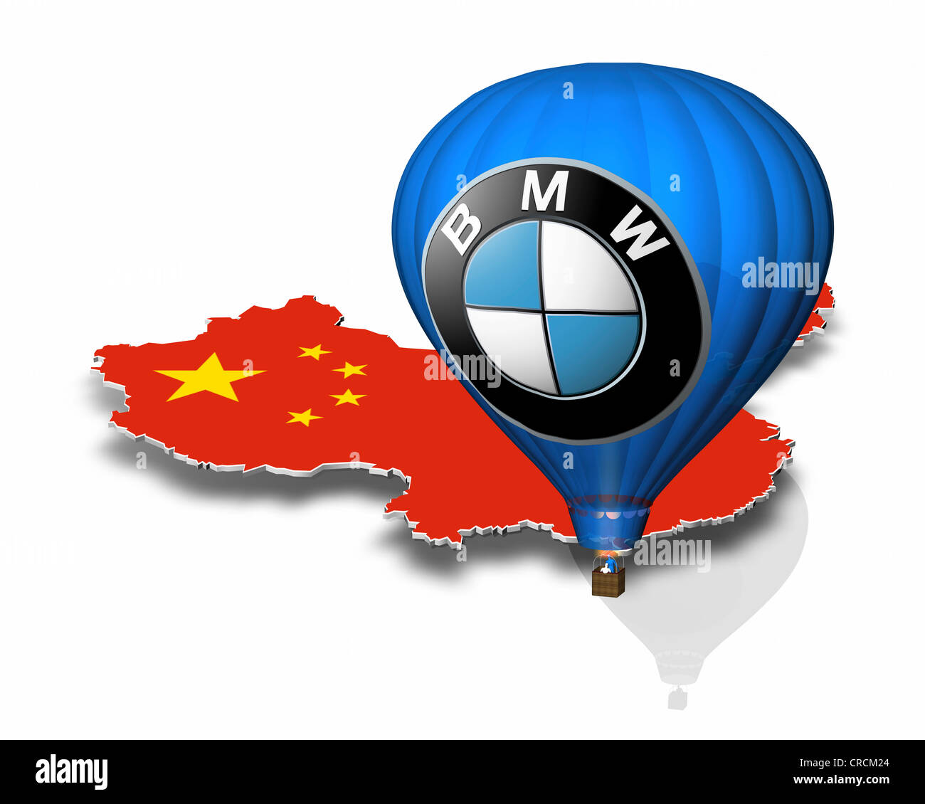 Outline of China, hot-air balloon, BMW logo - Stock Image