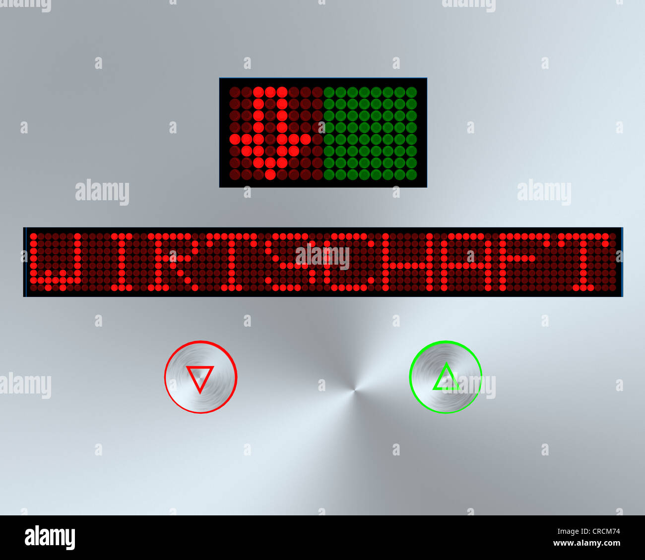 Display with writing 'Wirtschaft' or economy, illustration - Stock Image