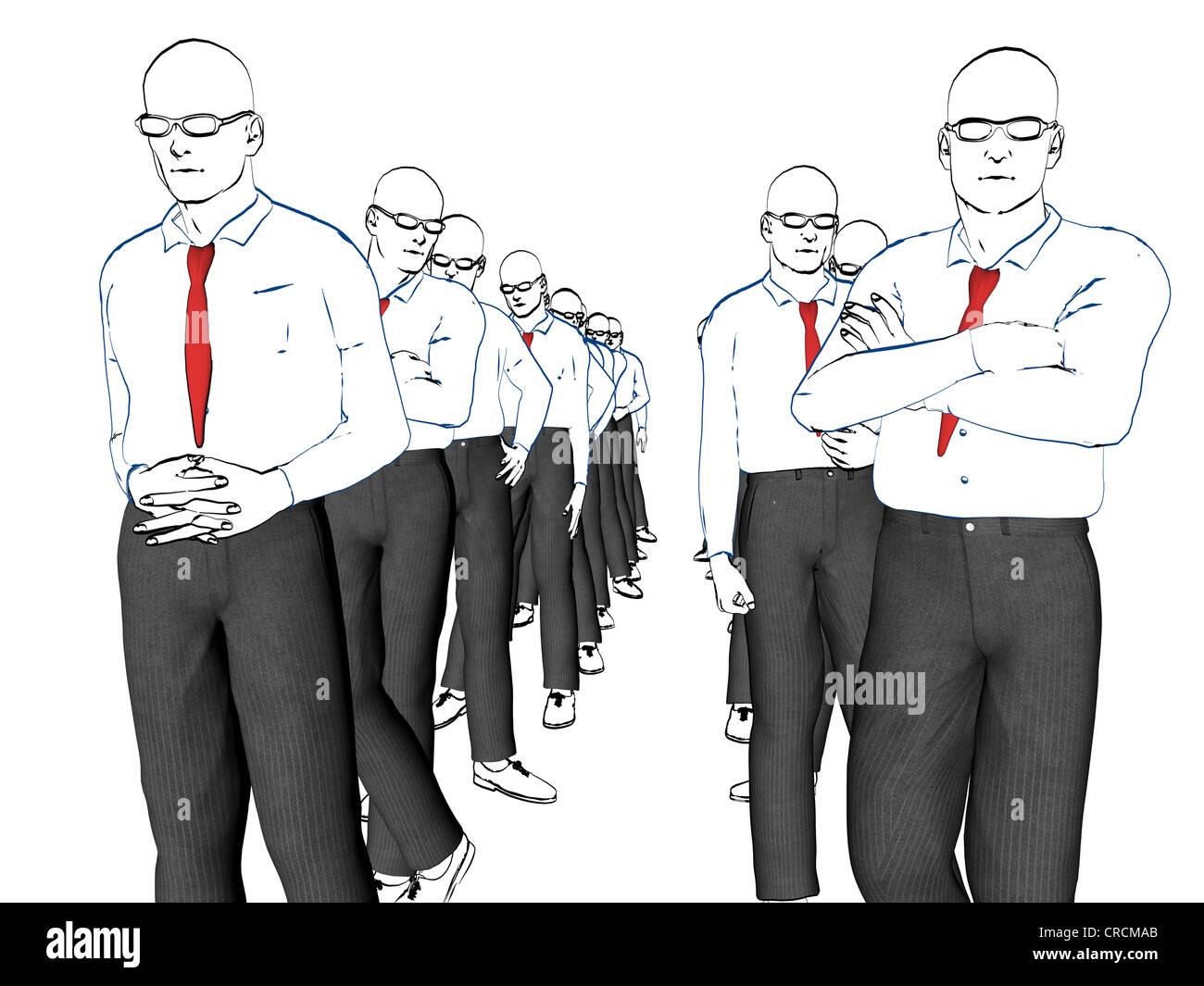Employees, illustration, symbolic image of unemployment - Stock Image