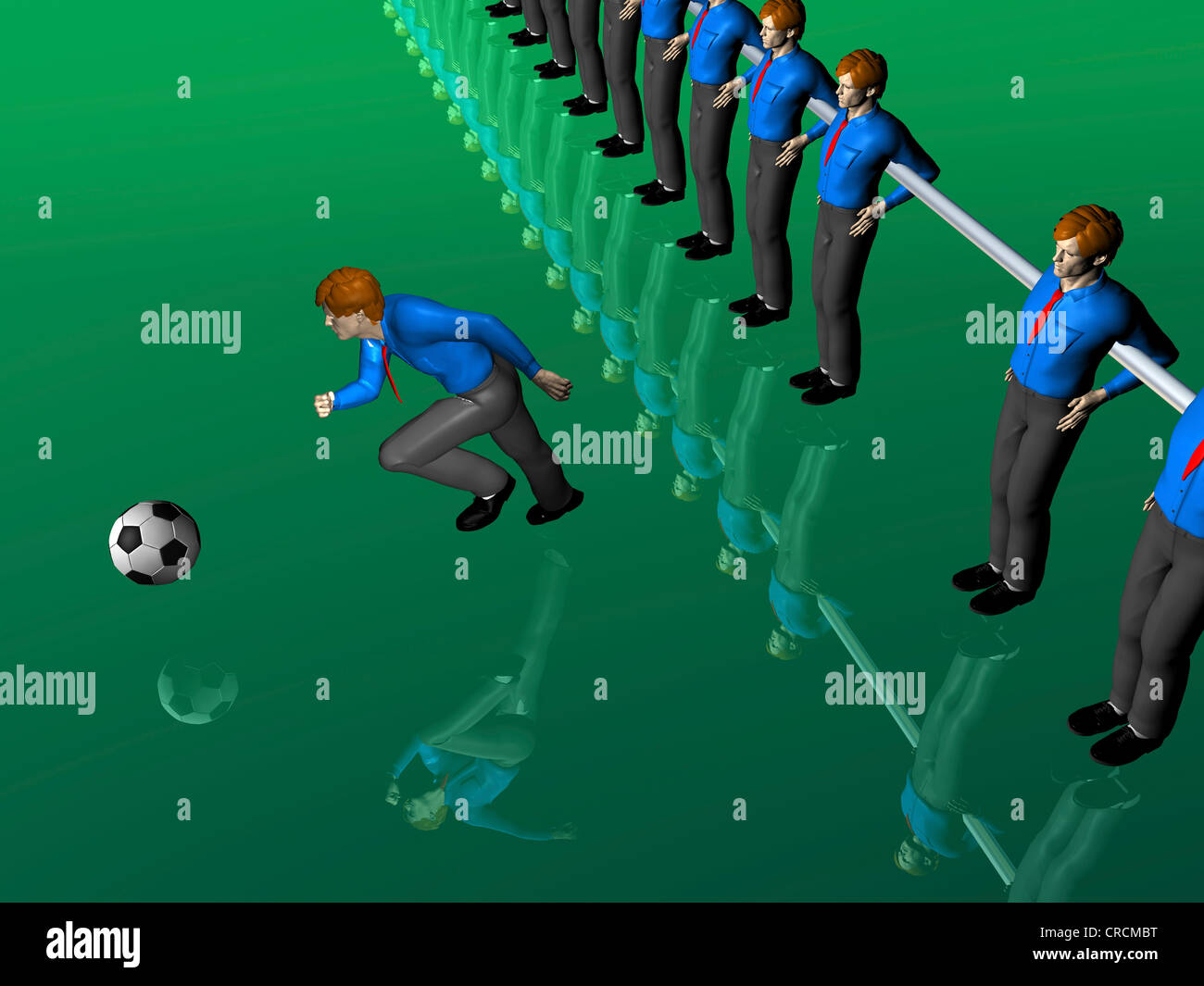Table soccer figures, one running after the ball, illustration, symbolic image - Stock Image