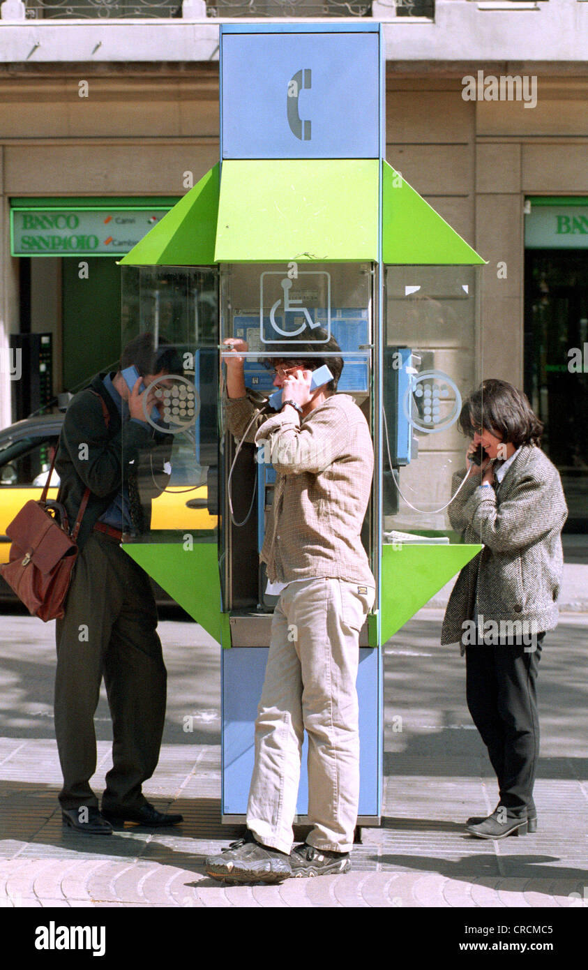 Spain, Barcelona, phone booths of the Spanish telephone company Telefonica - Stock Image