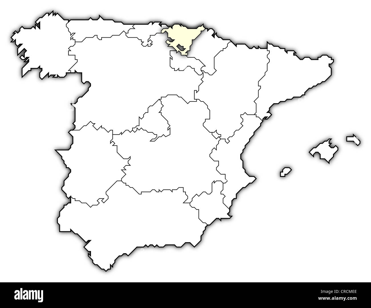Political Map Of Spain With The Several Regions Where Basque Country