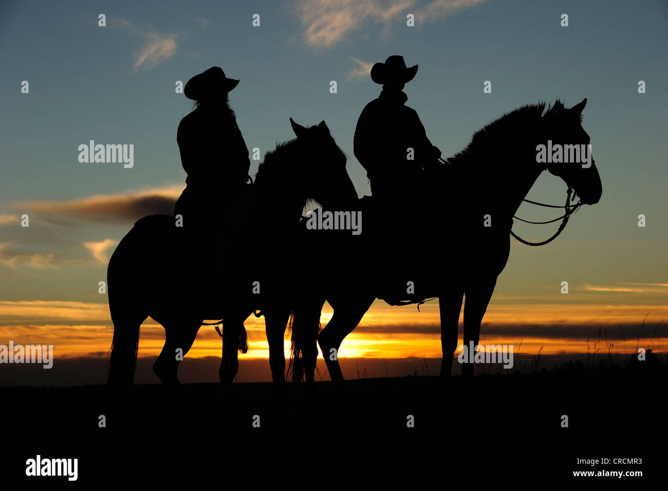 Cowgirl and Cowboy sitting on horseback at sunset, Saskatchewan, Canada, North America - Stock Image