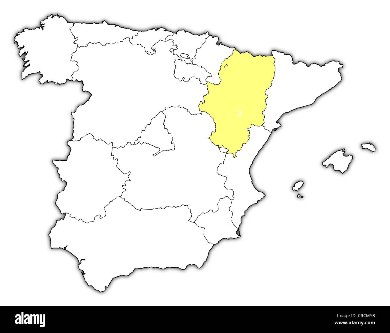 aragon outline stock photos aragon outline stock images alamy China Country Outline political map of spain with the several regions where aragon is highlighted stock image