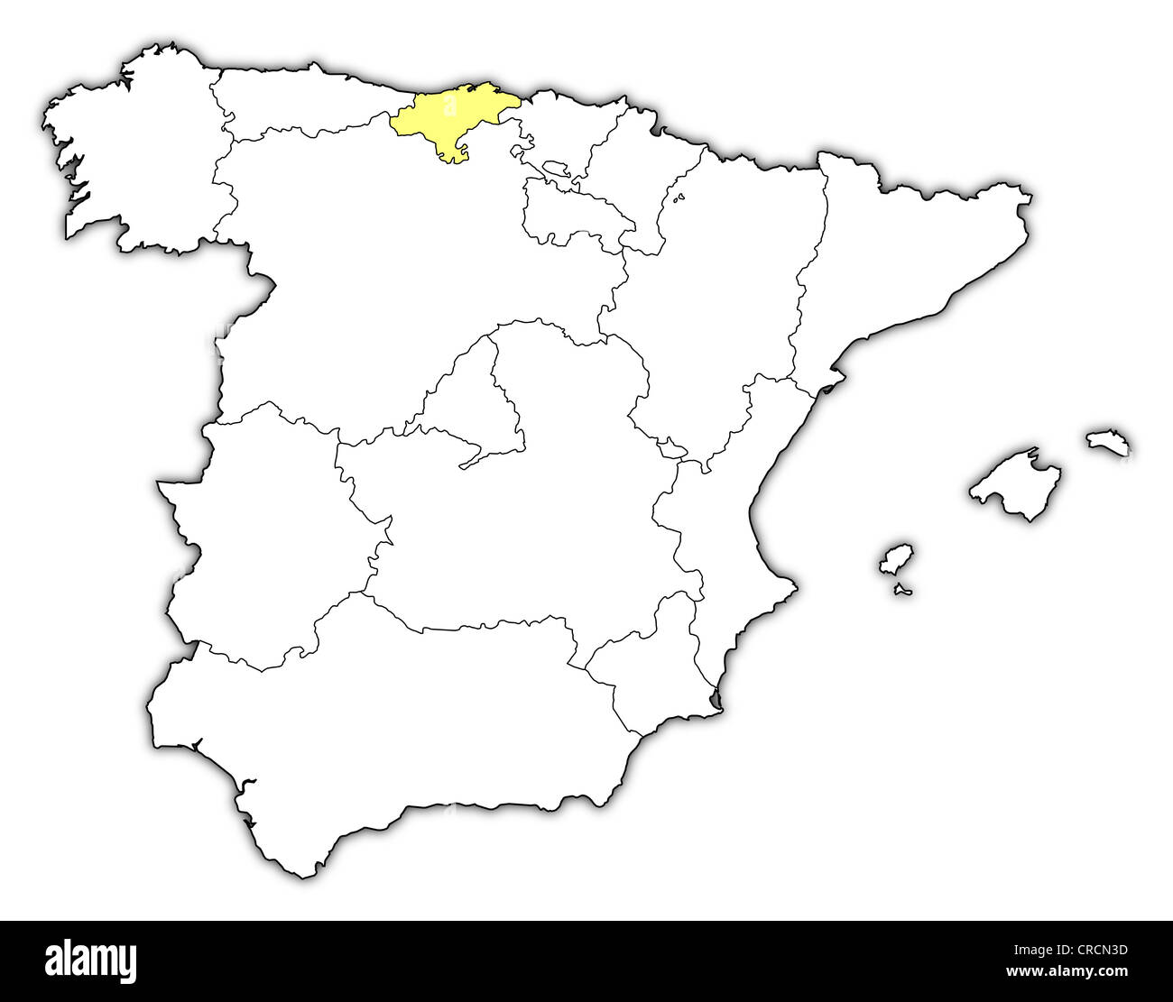 Political map of Spain with the several regions where Cantabria is ...