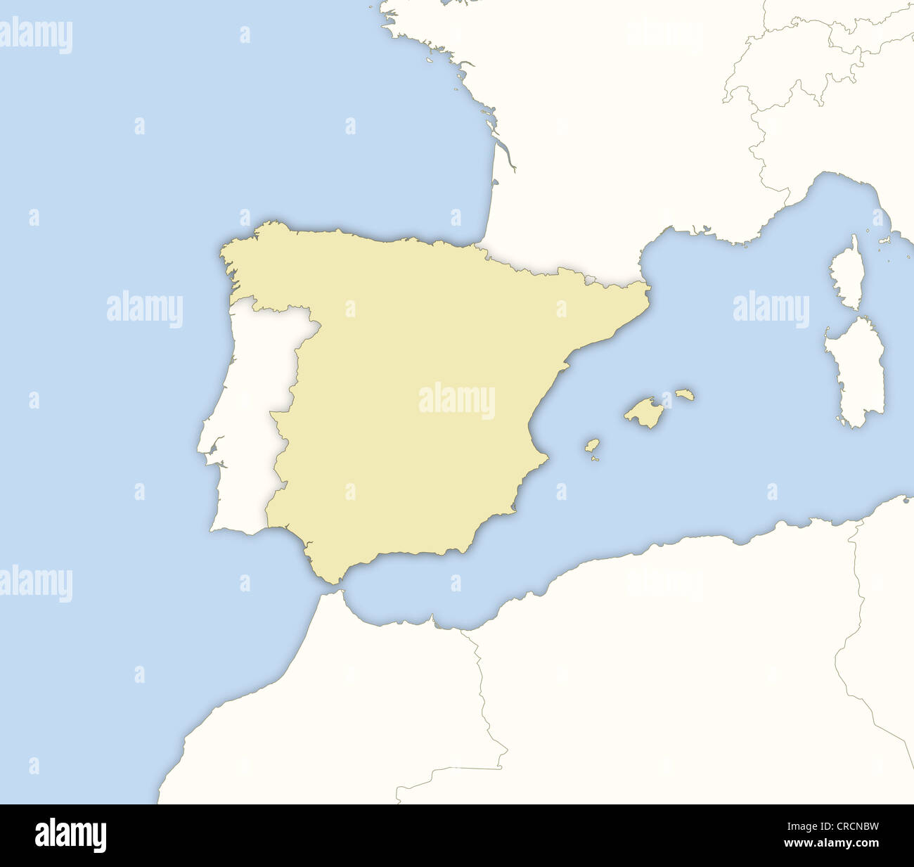 Map Of Spain With Regions.Political Map Of Spain With The Several Regions Stock Photo