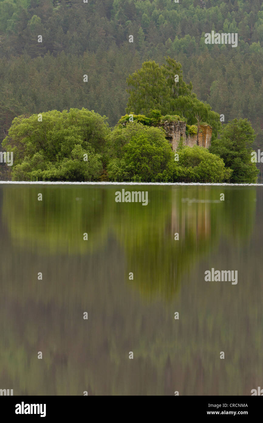 Loch an Eilein Castle, Rothiemurchus Estate, Cairngorms, Scotland - Stock Image
