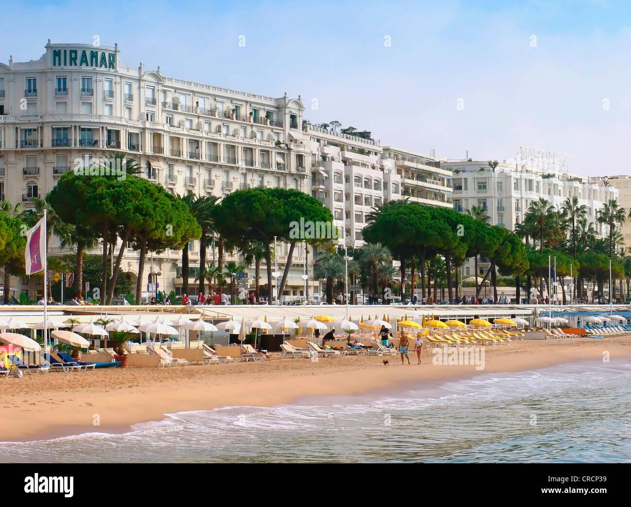la croisette beach and the ritz carlton hotel in cannes  france stock photo  48838589