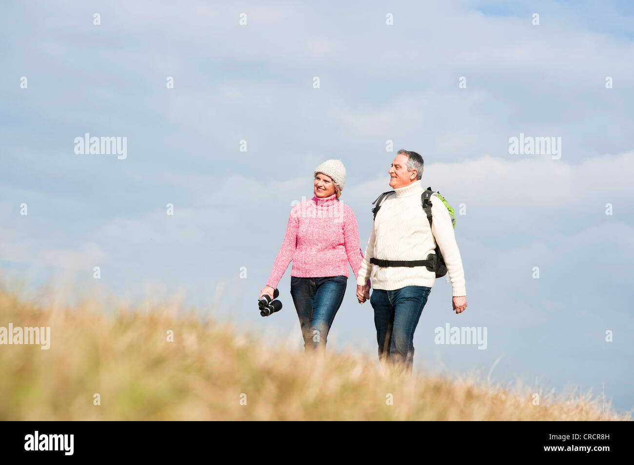 Couple walking hand in hand in meadow Stock Photo