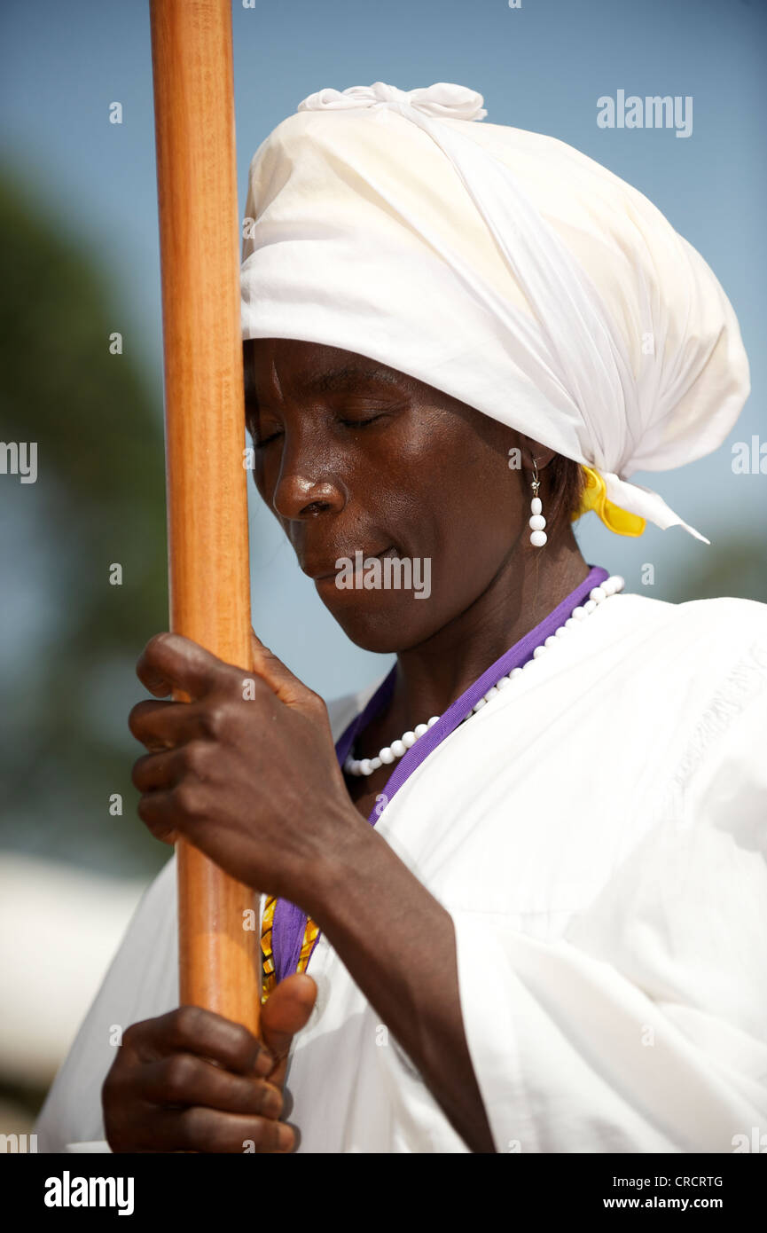 Woman absorbed in prayer, Bamenda, Cameroon, Africa - Stock Image