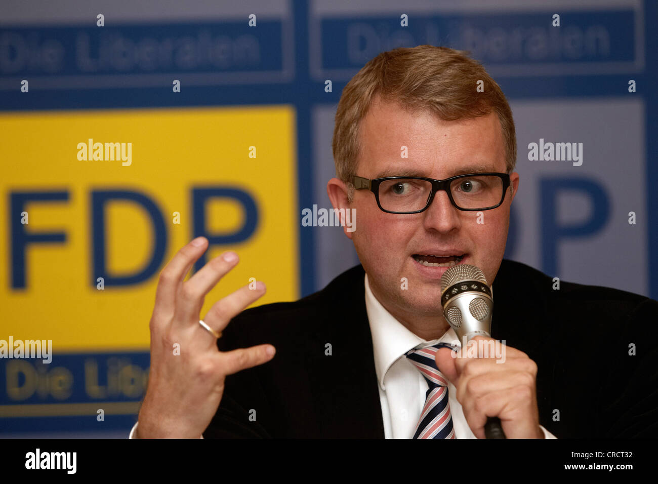 Euro-critic Frank Schaeffler, member of Parliament for FDP, Free Democratic Party, at a discussion meeting, Plaidt - Stock Image