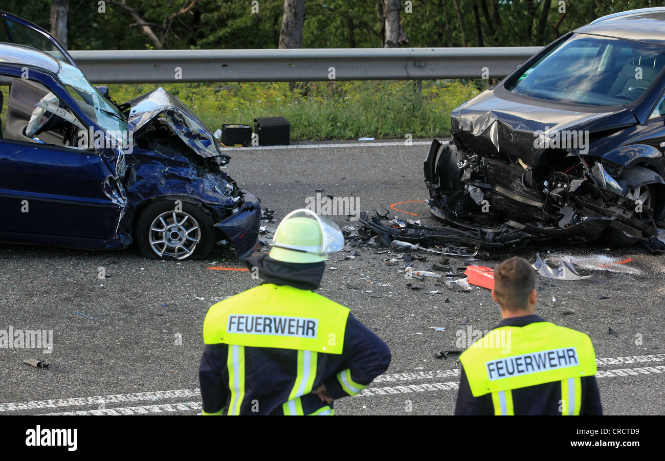 Collision of two cars and a motorcycle, one person was killed, B327 federal highway near Waldesch, Rhineland-Palatinate - Stock Image
