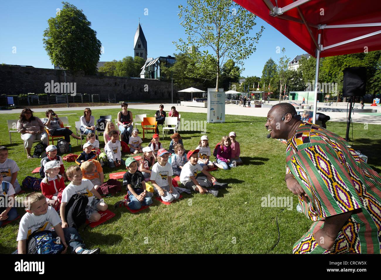 Patrick Addai, Ghanaian children's book author at the Bundesgartenschau, Federal Garden Show, BUGA 2011, Koblenz - Stock Image