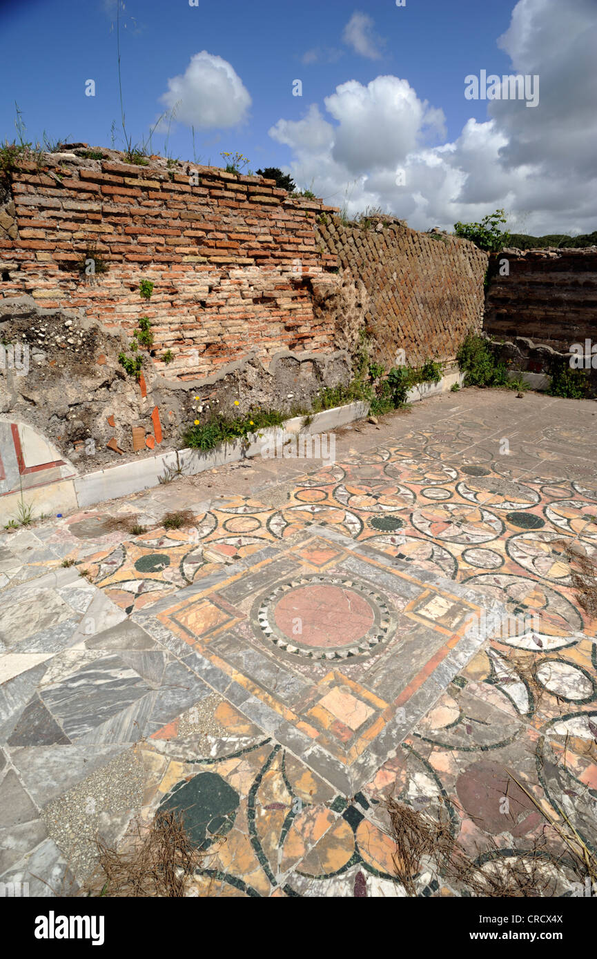 italy, rome, ostia antica, roman house of cupid and psyche (domus di amore e psiche), ancient mosaic floor - Stock Image