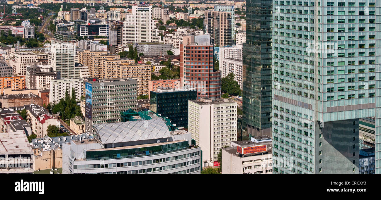 Hotel Intercontinental on right, office apartment buildings in center of Warsaw from Palace of Culture and Science - Stock Image