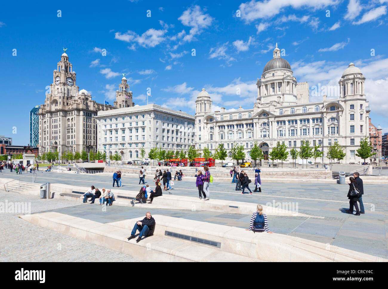 Pier head three graces buildings Liverpool waterfront  Merseyside England uk gb eu europe - Stock Image