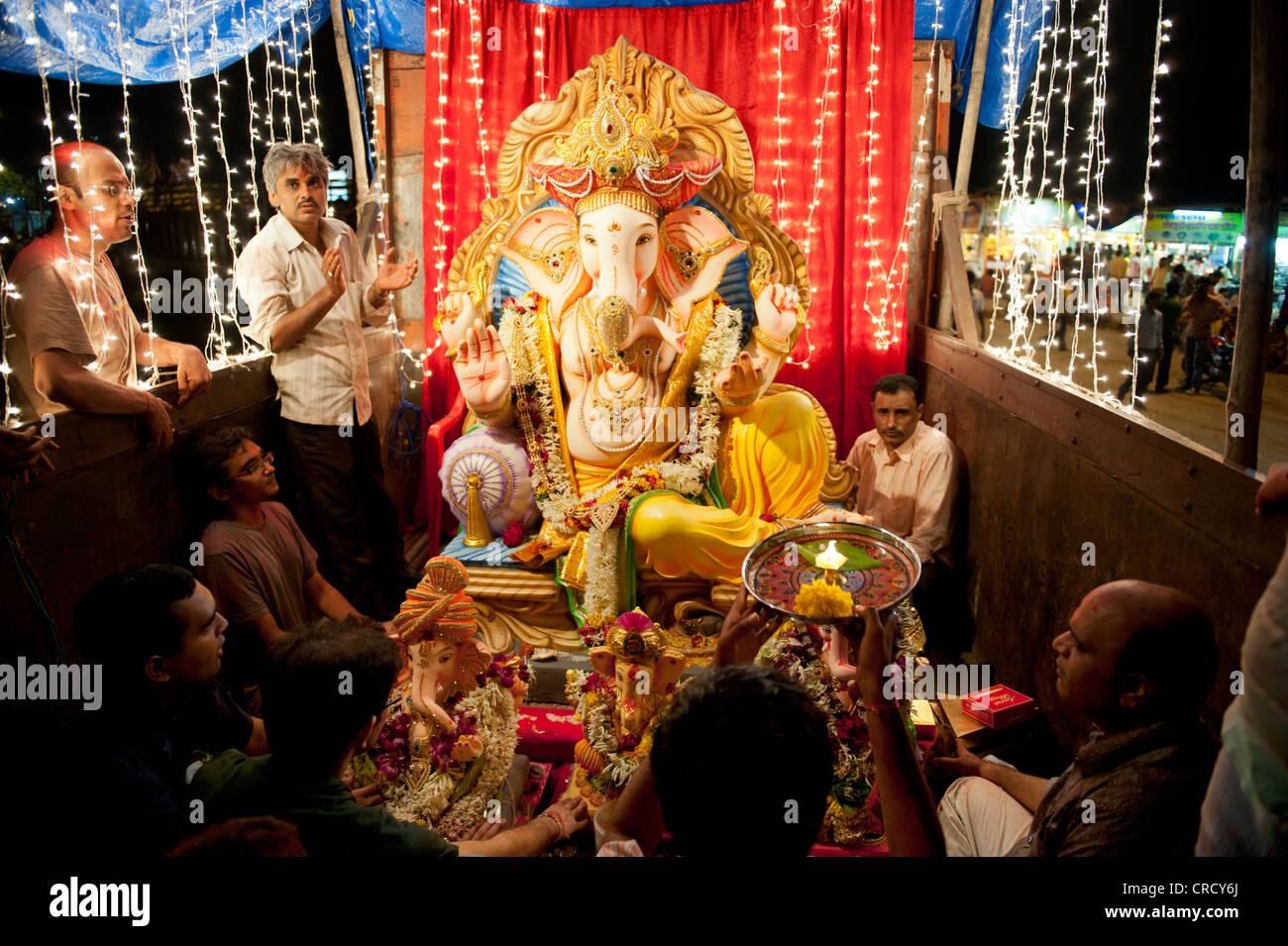 Worshippers celebrate the Ganesha Chaturthi festival
