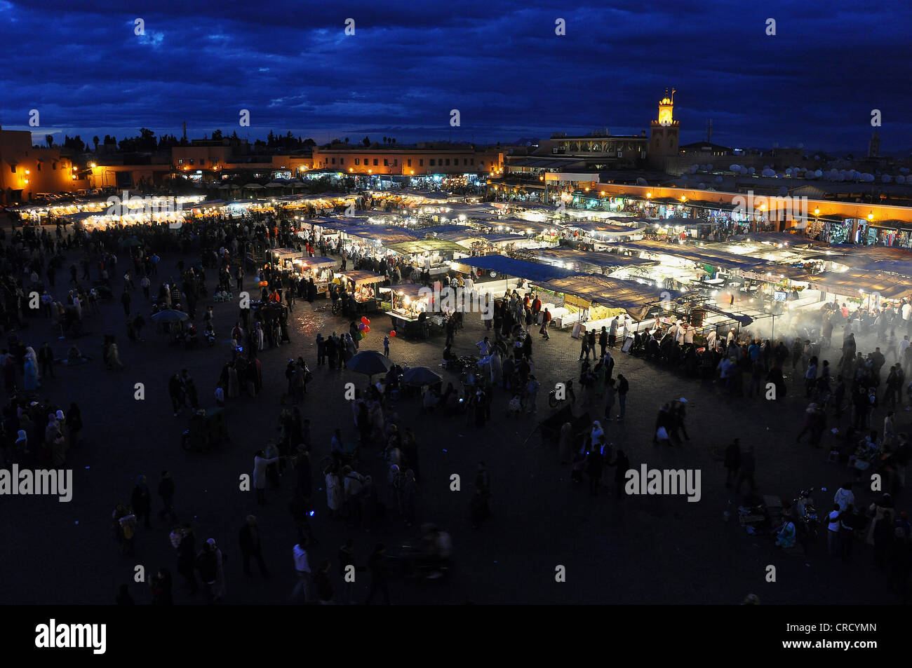 Stalls on Jemaa el-Fnaa Square, Place of the Hanged Man, during the blue hour, Marrakech, Morocco, Africa Stock Photo