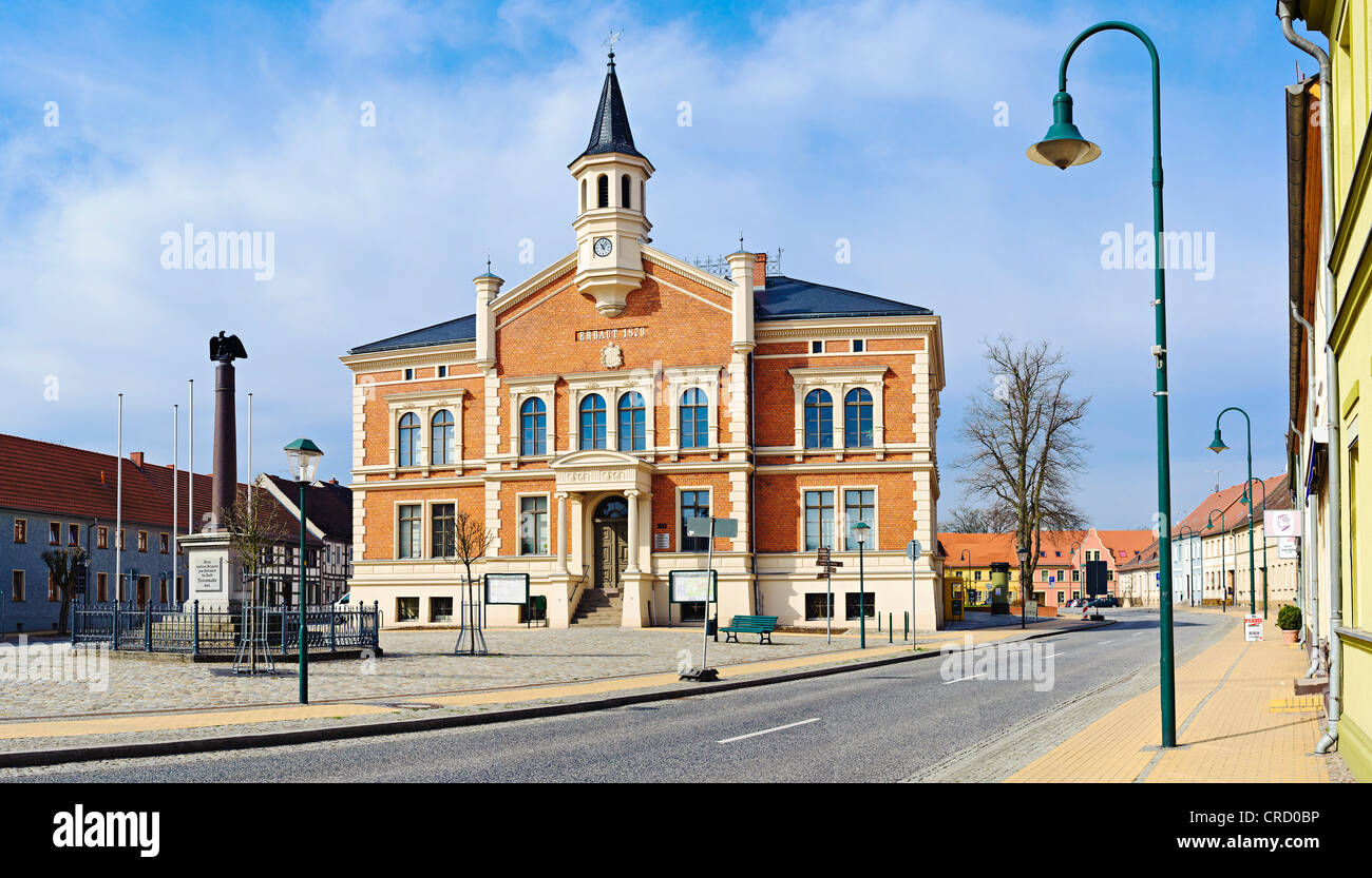 Town hall, Liebenwalde, Landkreis Oberhavel, Brandenburg, Germany, Europe - Stock Image