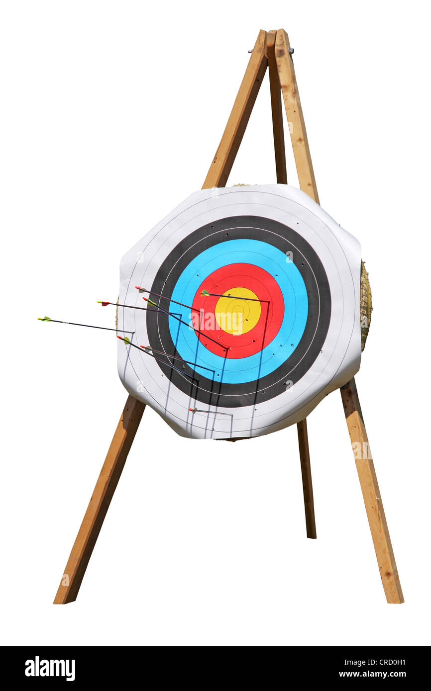 Straw Archery targets on a white background - Stock Image