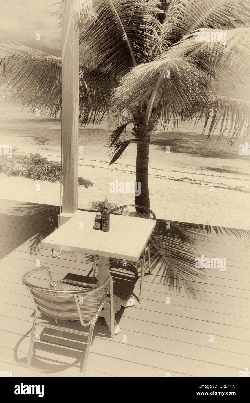 Table at The Conch Shack. Providenciales. Turks and Caicos. - Stock Image