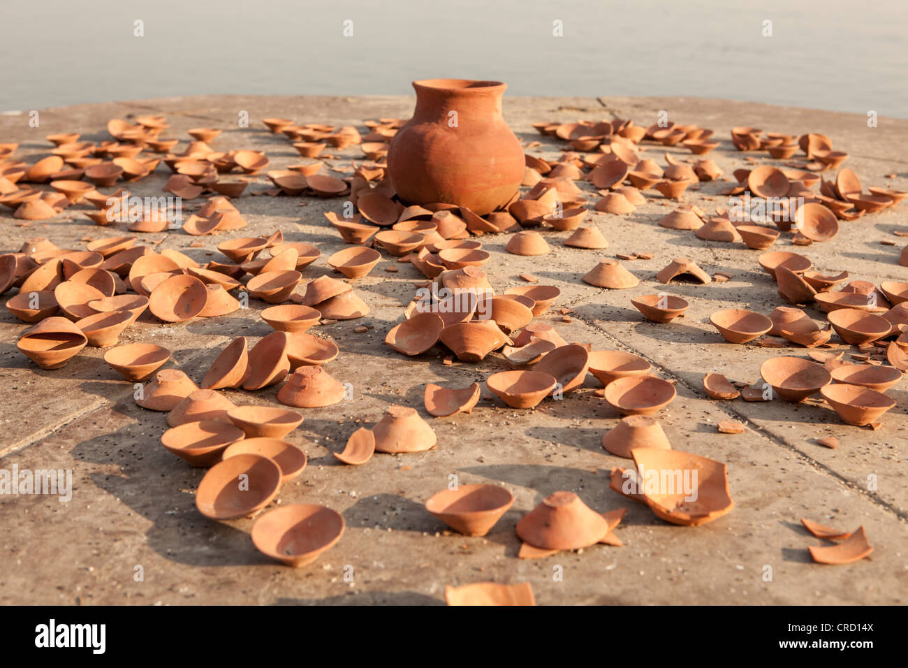 Trace of last night Puja in Ghat (pray for any reason) , in Varanasi, Uttar Pradesh, India - Stock Image