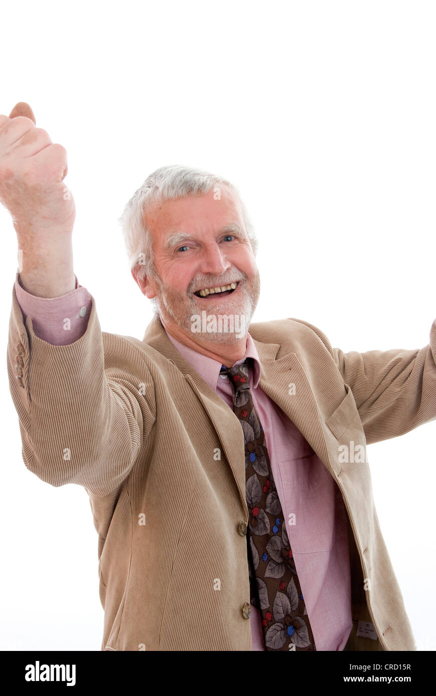 jubilating, older man - Stock Image