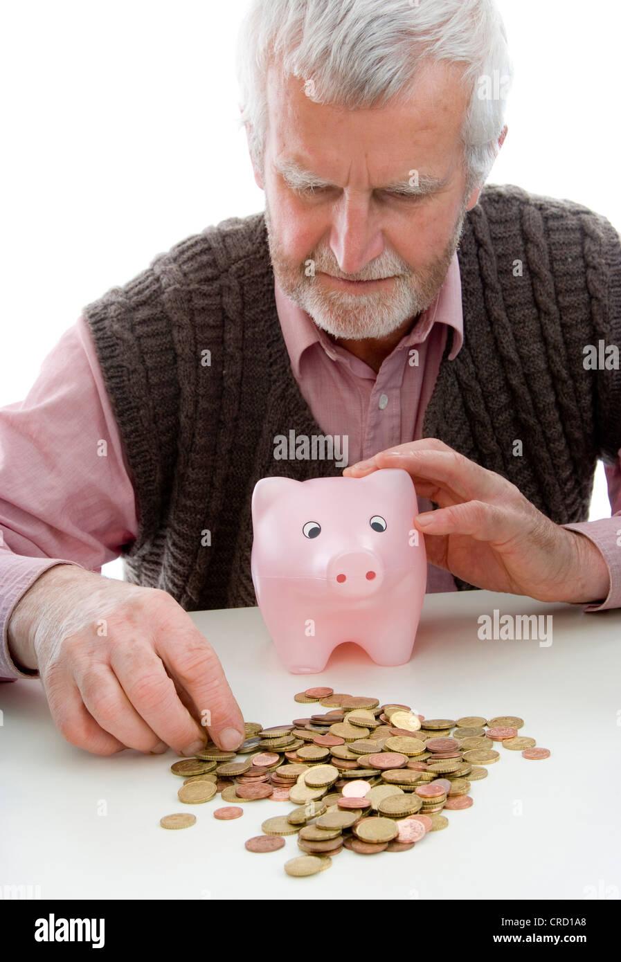 symbolic for retiree with minimum pension - Stock Image