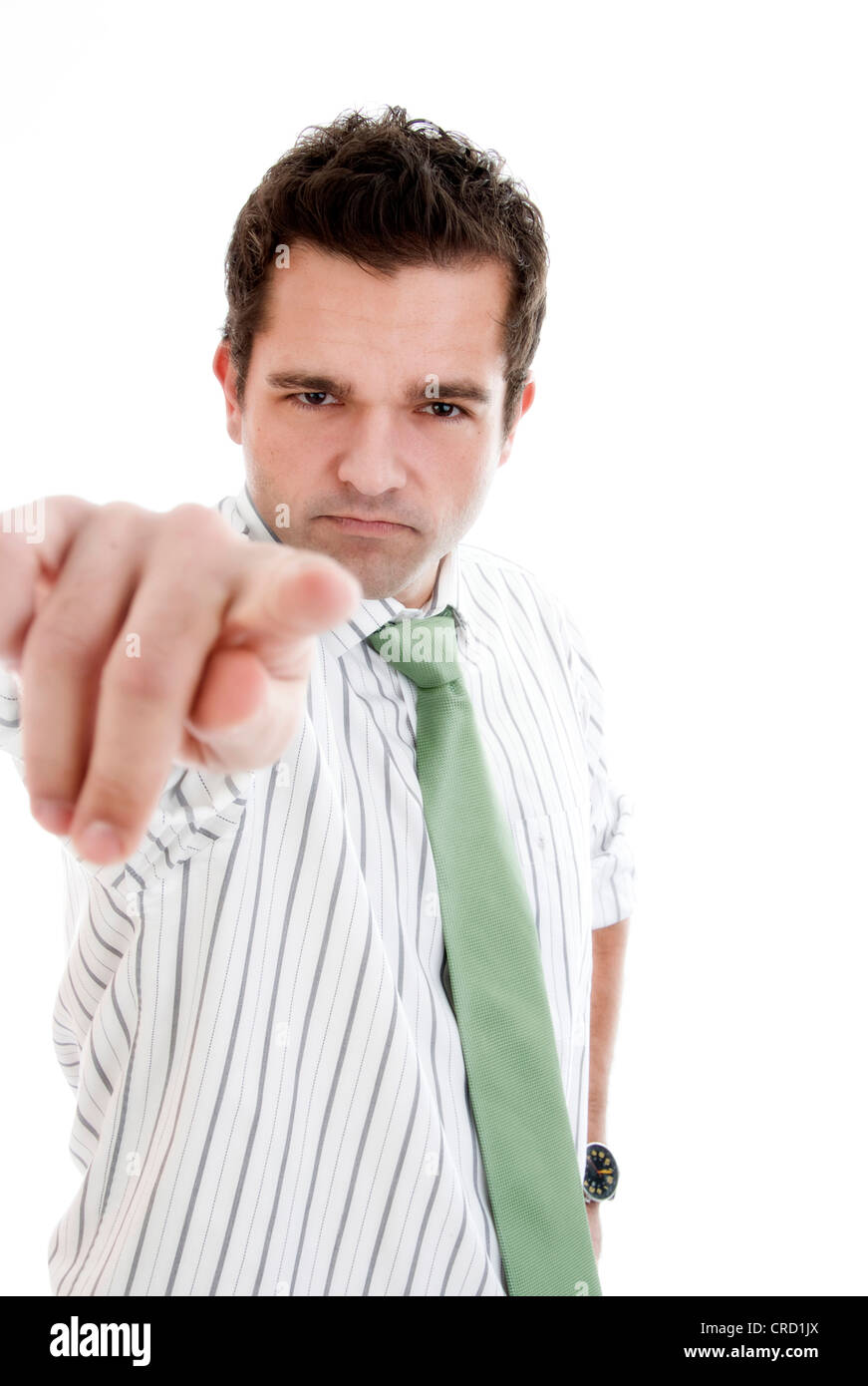 young businessman points a finger Stock Photo